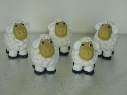 Flock of 5 Sheep Cake Toppers